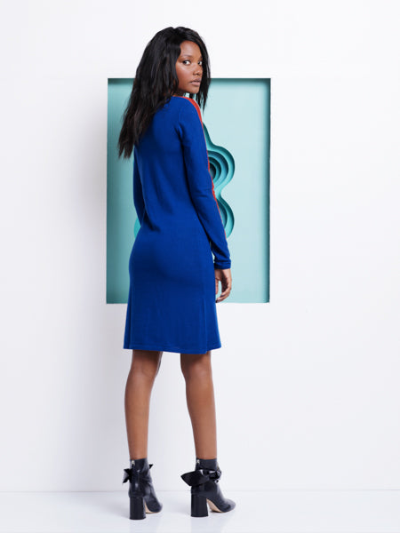Moisés Nieto Blue Wool Dress