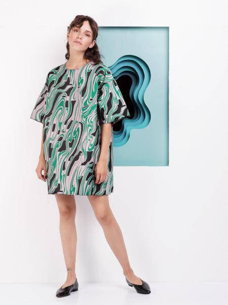 Marques'Almeida Oversized T-shirt Dress in Pink and Green Lava Jacquard