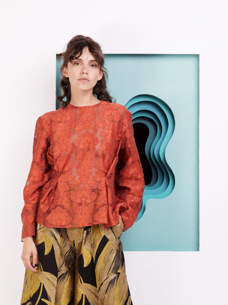 Alexandra Moura Sheer Jacquard Top with Flowers