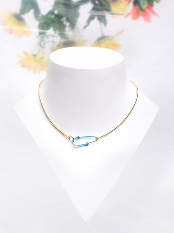 ANDRESGALLARDO Blue Hook Vermeil Chain Necklace