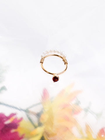Beatriz Palacios Garnet Drop and Pearls Gold Vermeil Royal Ring