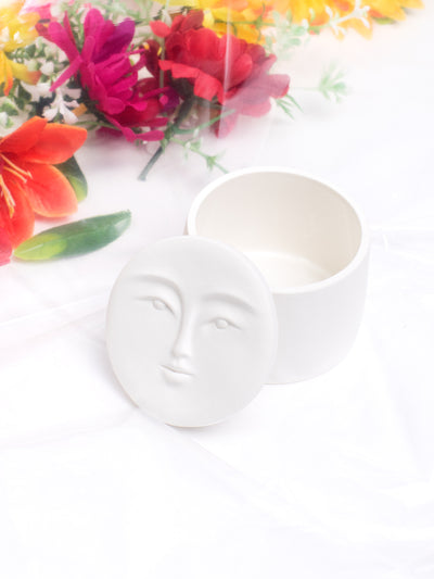 ANDRESGALLARDO Handcrafted White Porcelain Moon Box in Medium
