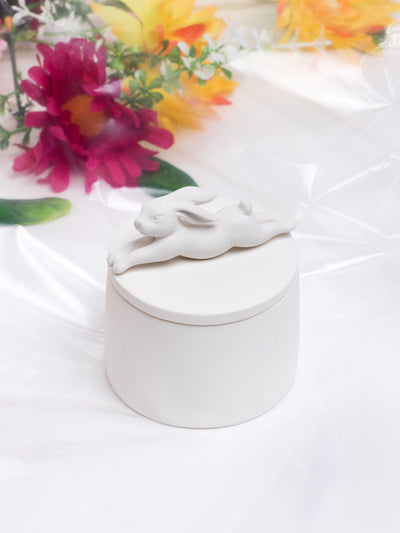 ANDRESGALLARDO Handcrafted White Porcelain Rabbit Box in Medium
