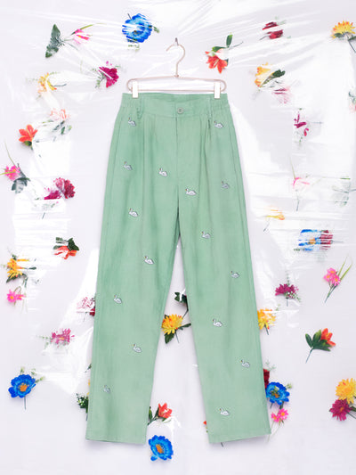 Lazy Oaf Swan Song Corduroy Mint Unisex Pants Embroidered