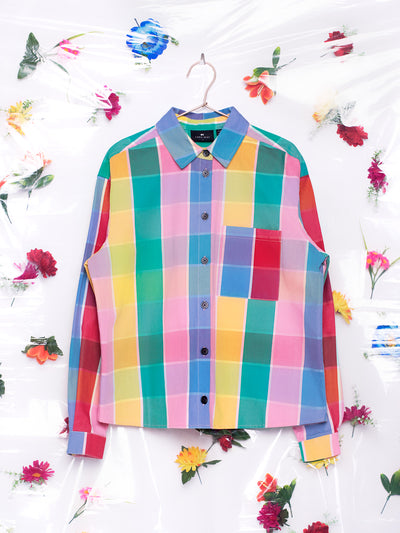 Lazy Oaf Golden Years Check Oversized Shirt Rainbow