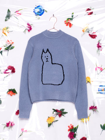 Lazy Oaf Cat Lady Blue Jumper
