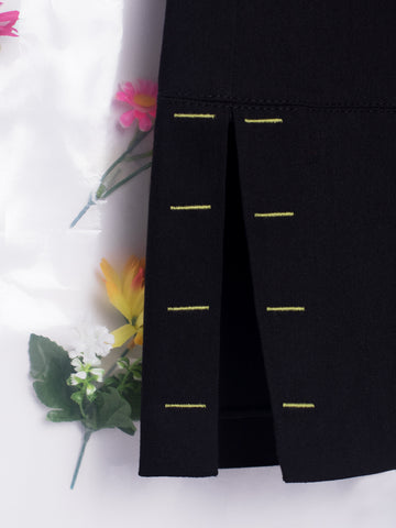 Unflower Black Trousers with Green Stitching Details
