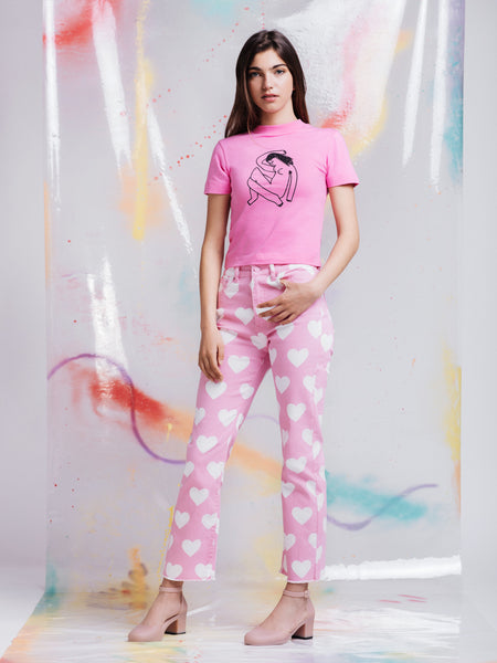 Lazy Oaf Naked Lady Pink Fitted T-Shirt
