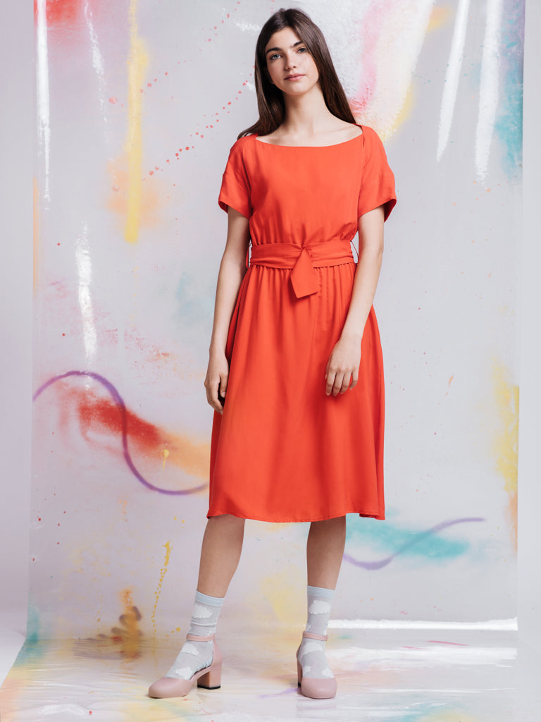 Ambali Red Orange Dress
