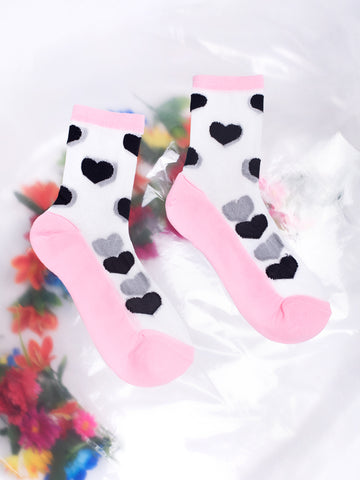 Lazy Oaf Clear Black Heart Socks See-through Kawaii