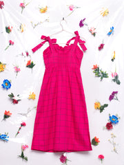 Lazy Oaf Caged In Button Dress Sweetheart Neckline Fuchsia Pink