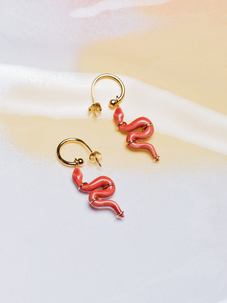 ANDRESGALLARDO Handcrafted Red Porcelain Serpents Hoops