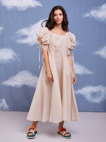 Unflower Beige See-through Puff Sleeves Dress Cottagecore