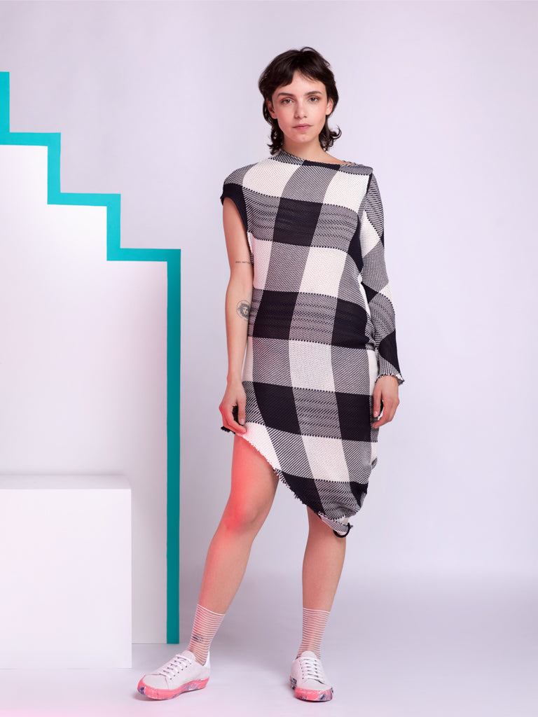 Marques'Almeida Checked Asymmetric Knitted Mini Dress