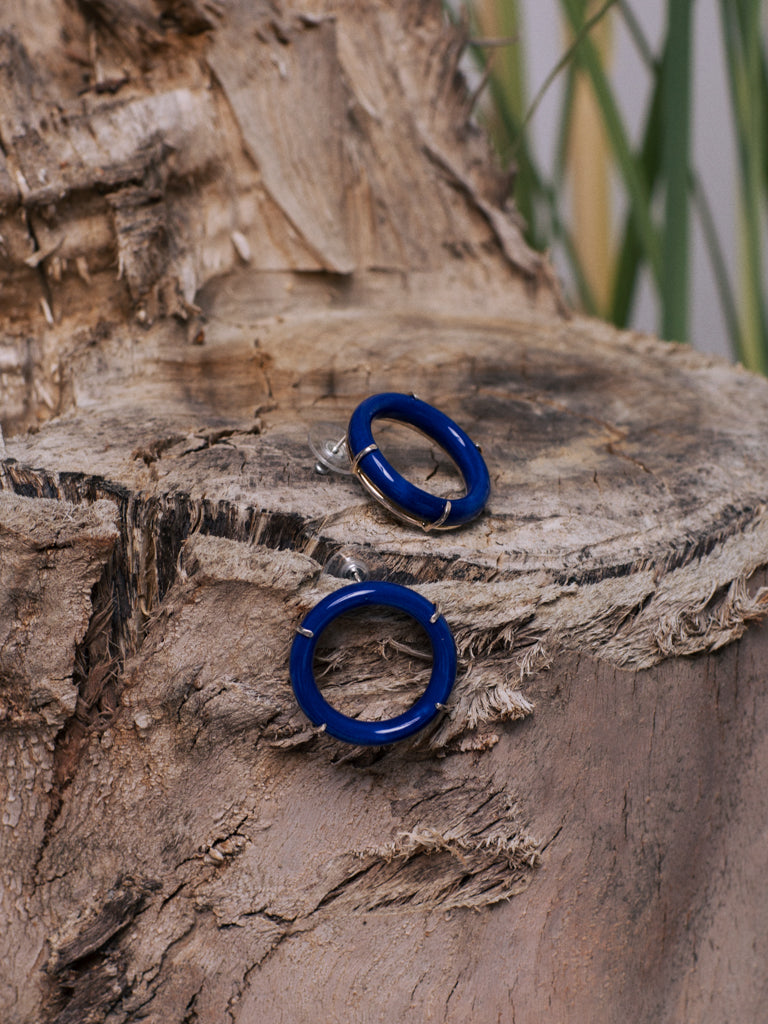 ANDRESGALLARDO Handcrafted Blue Porcelain Circle and Sterling Silver Earrings