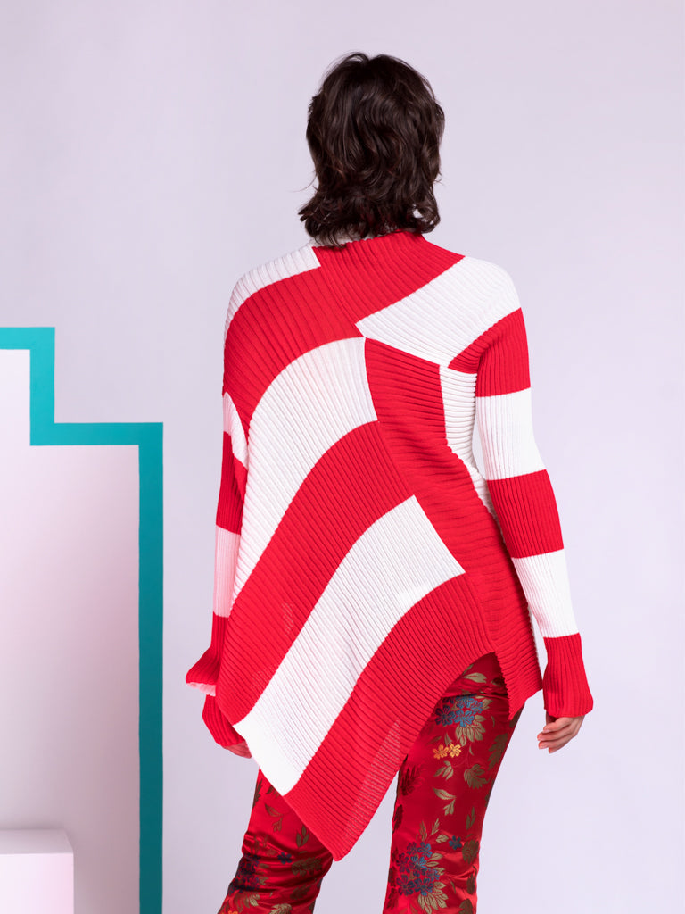 Marques'Almeida Asymmetrical Ribbed Knit Jumper in Red and White Stripes