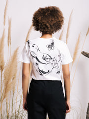 Olivia Suguri Mean Kitty White T-shirt with Hand-Painted Details
