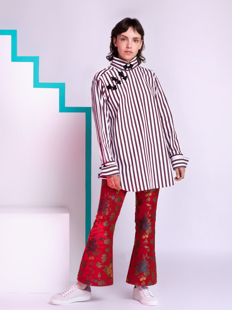 Marques'Almeida Burgundy and White Stripes Shirt with Frog Buttons