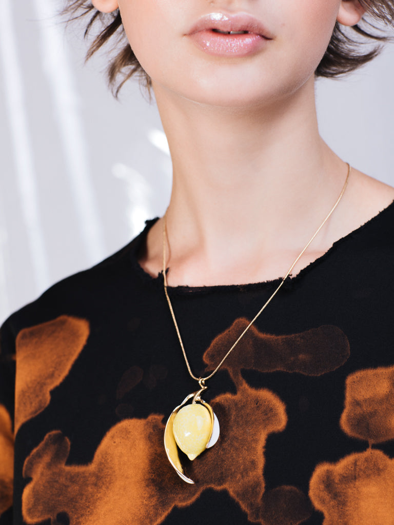 ANDRESGALLARDO Handcrafted Porcelain and Gold Plated Lemon Necklace