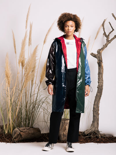 Alexandra Moura X Duffy Cristo Waterproof Parka in Light Blue, Green, Navy and Brown