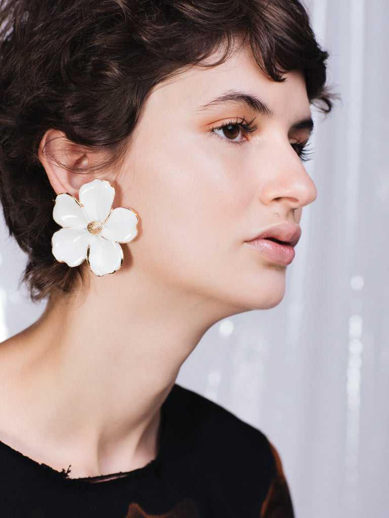 ANDRESGALLARDO Handcrafted Porcelain Petunias and Gold Plated Earrings