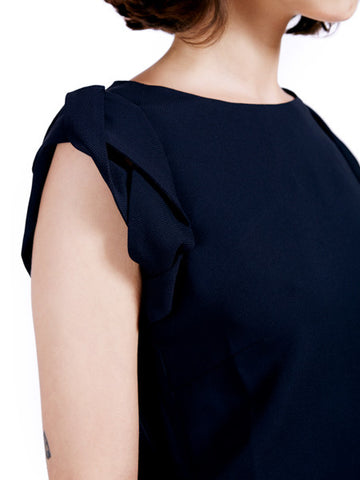 Ambali Elle Navy Top Sleeve Detail