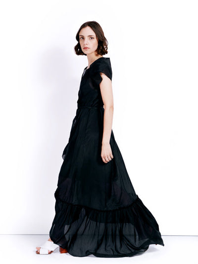 Rachel Antonoff Black Voile Sonia Wrap Dress Side