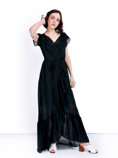 Rachel Antonoff Black Voile Sonia Wrap Dress Front