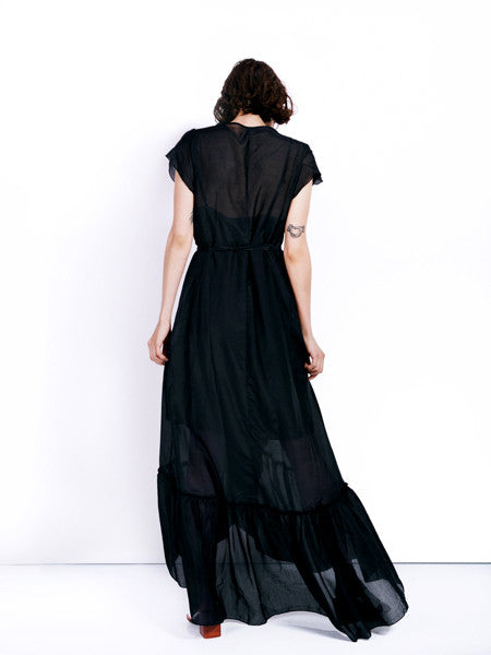 Rachel Antonoff Black Voile Sonia Wrap Dress Back