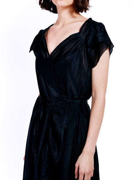 Rachel Antonoff Black Voile Sonia Wrap Dress Detail