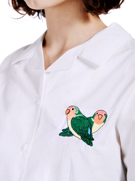 Rachel Antonoff Birds Happy Shirt Detail Front