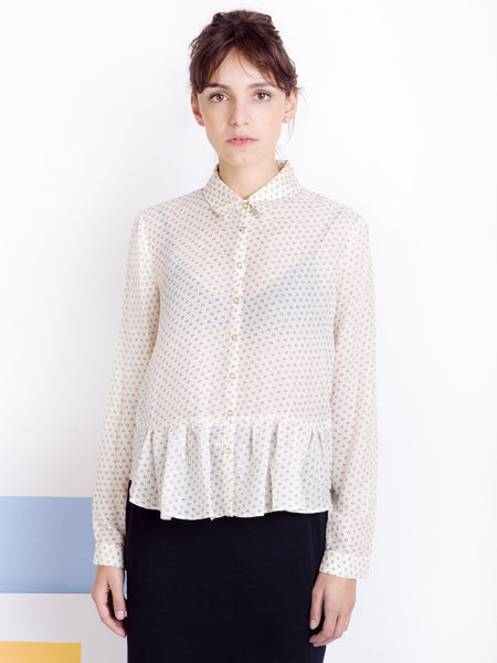 Ambali White Dots Frilled Shirt Front