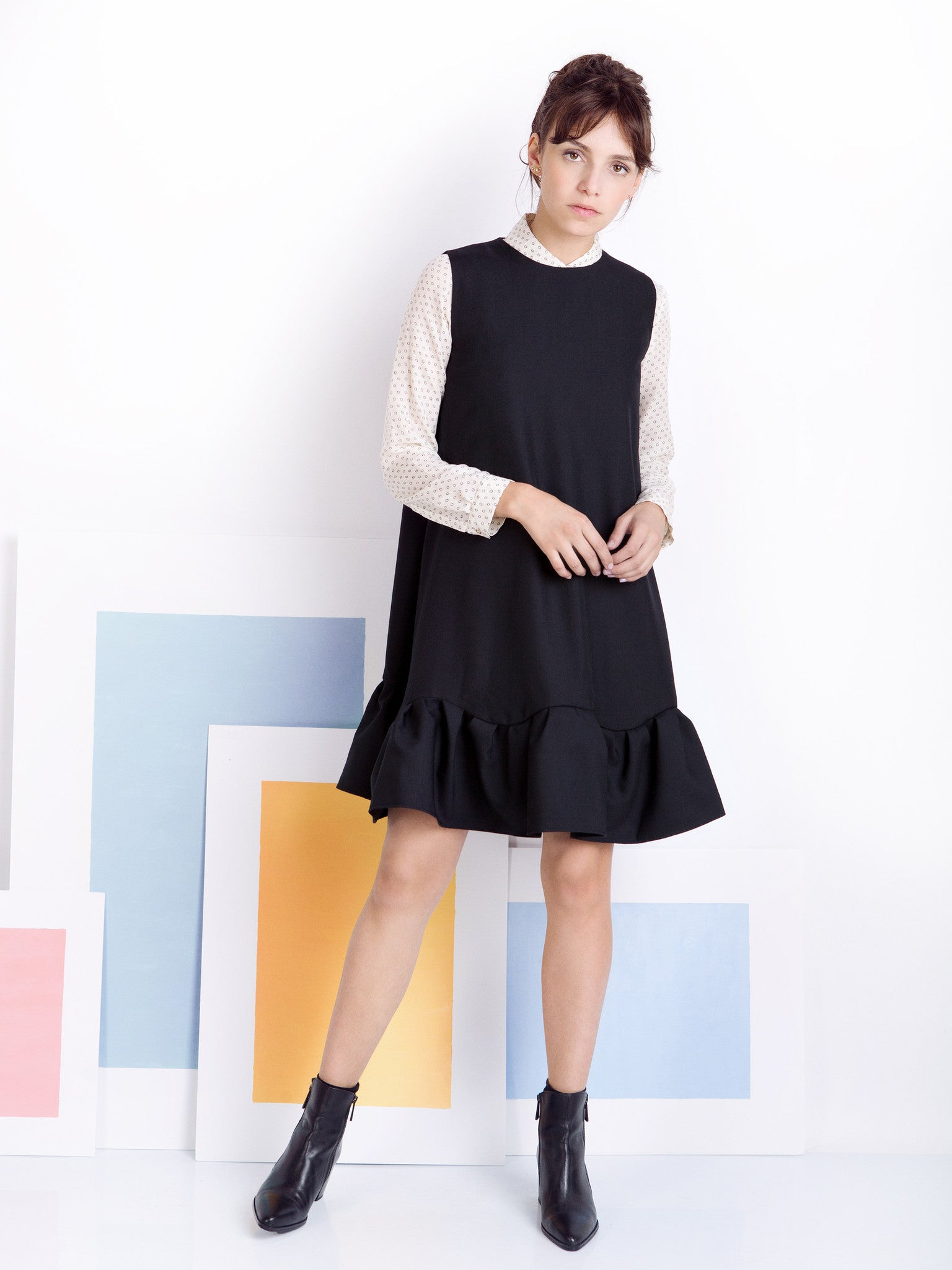 Ambali A- Line Black Frill Dress Styling