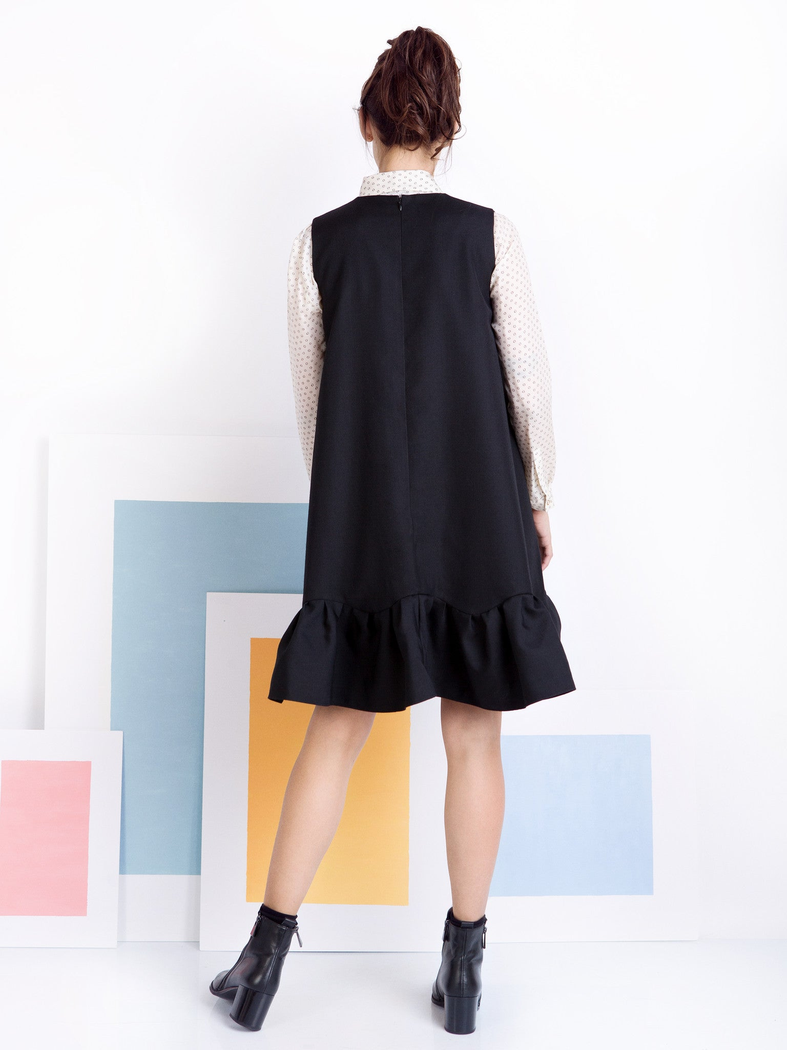 Ambali A- Line Black Frill Dress Back