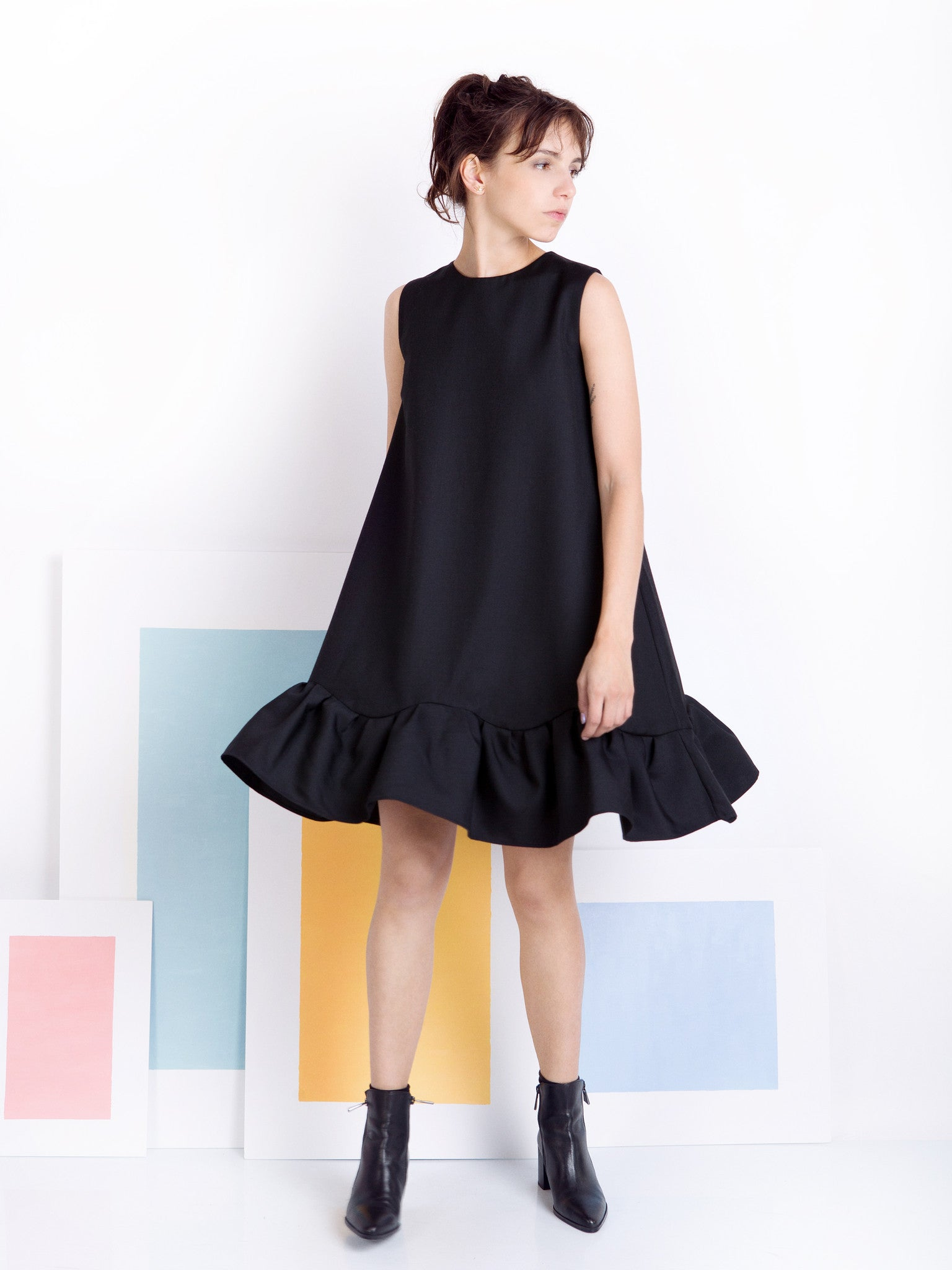 Ambali Black Frill Dress Look