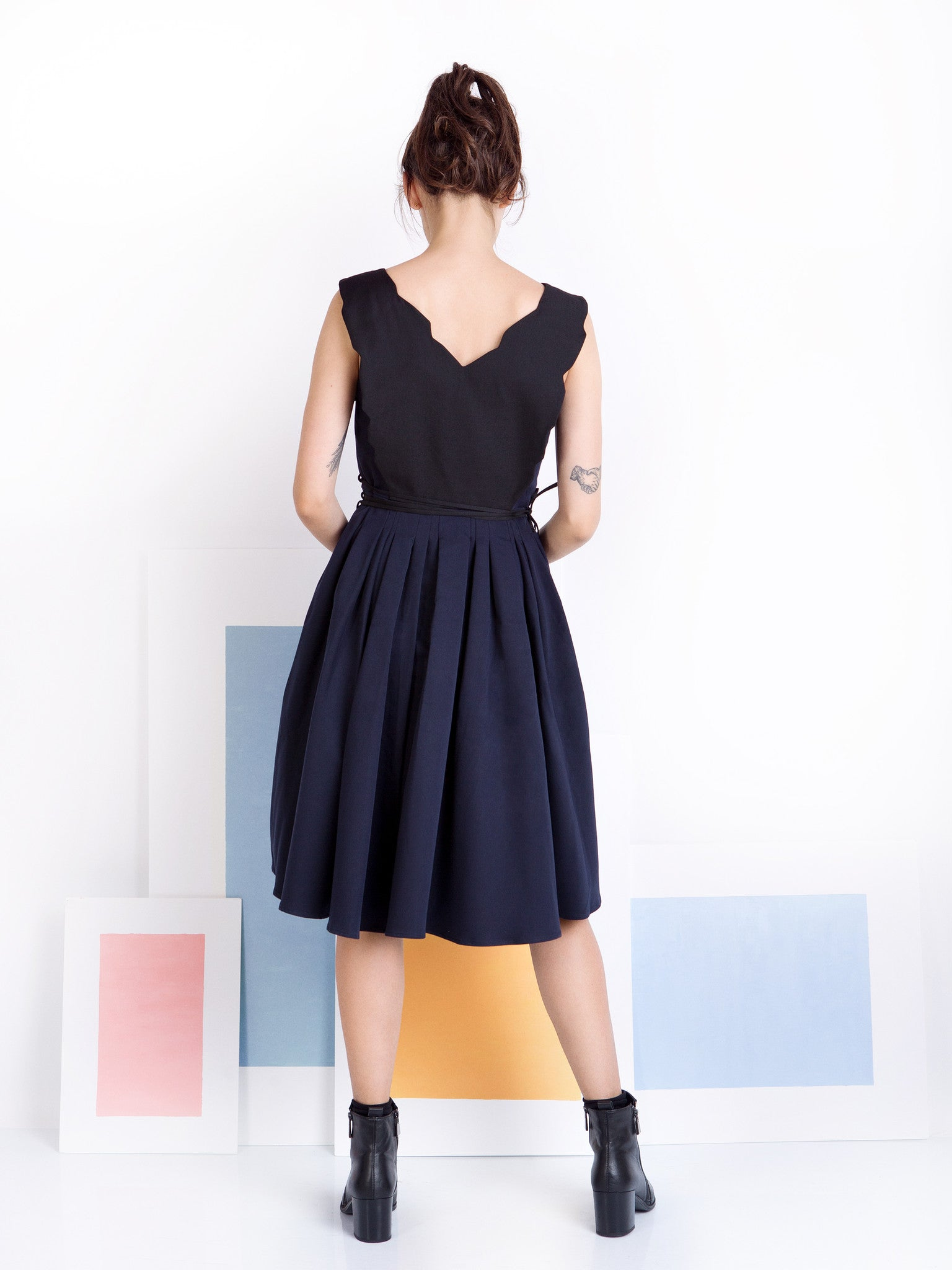 Ambali Black and Navy Dress Black