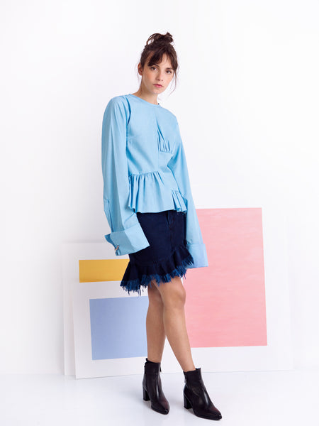 Marques'Almeida Blue Micro Gingham Cotton Asymmetric Frilled Shirt Look