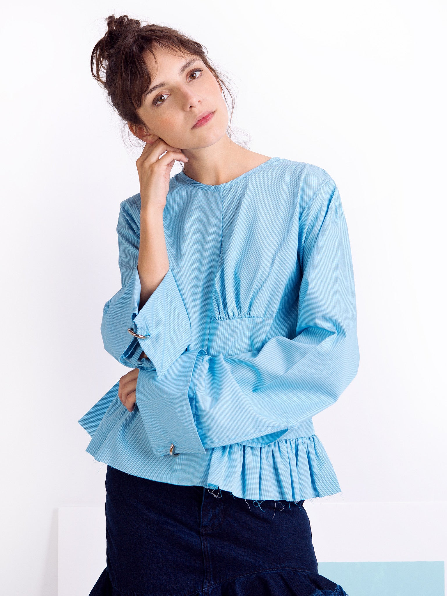 Marques'Almeida Blue Micro Gingham Cotton Asymmetric Frilled Shirt Front