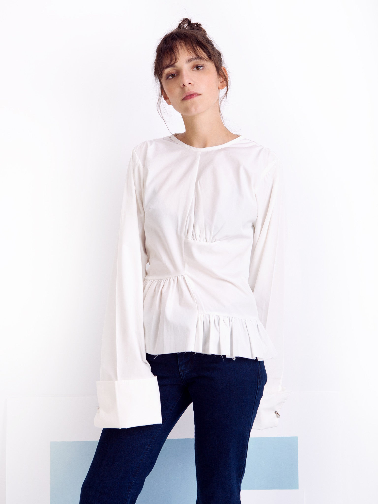 Marques'Almeida White Asymmetric Frilled Shirt Front