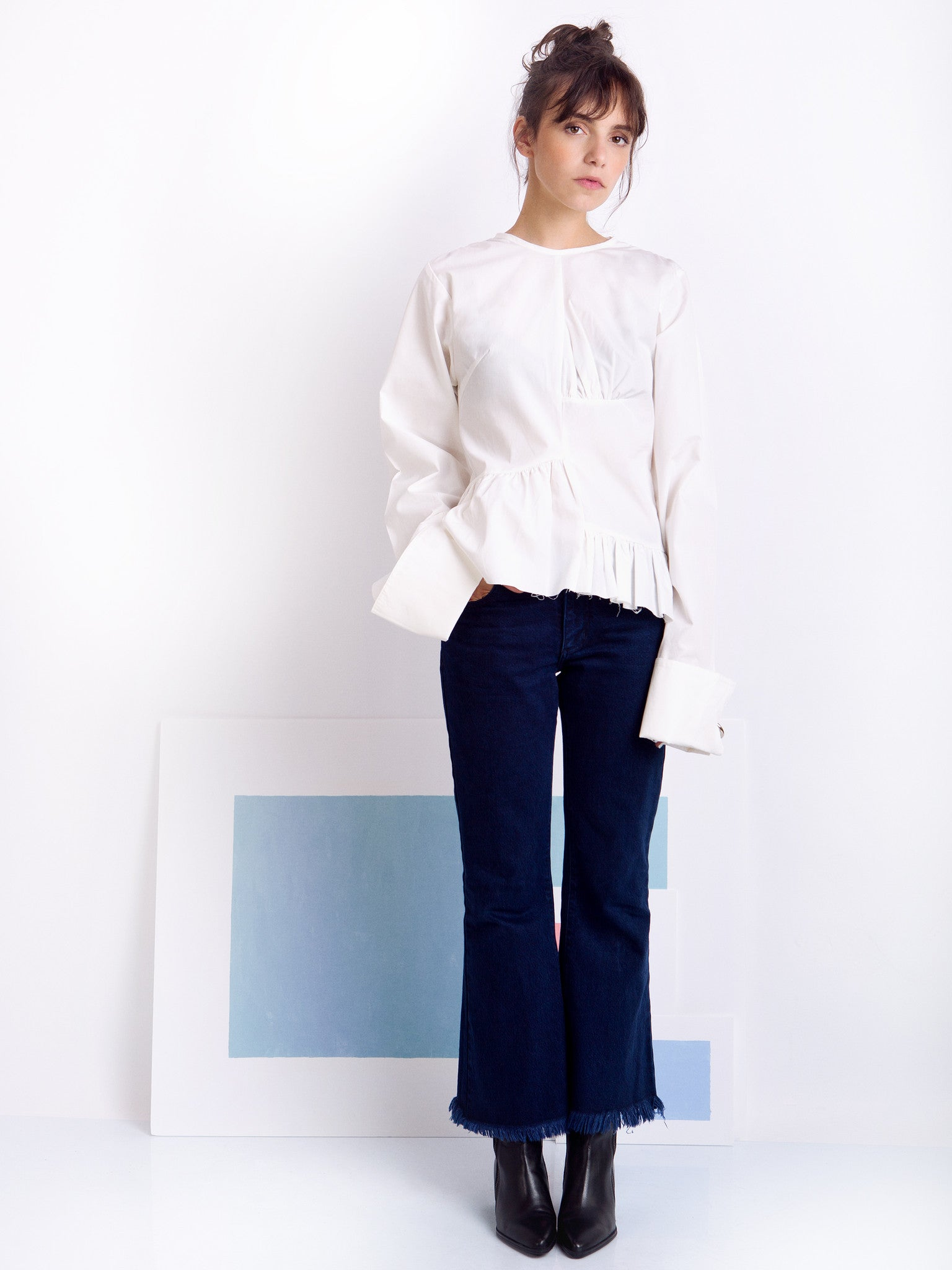 Marques'Almeida White Asymmetric Frilled Shirt Look