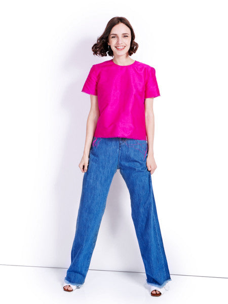 Marques'Almeida Raw Fuchsia Silk Top Look