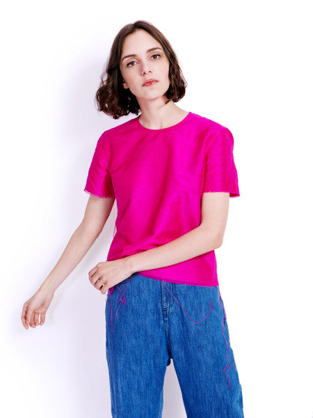 Marques'Almeida Raw Fuchsia Silk Top Front