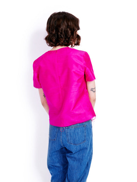 Marques'Almeida Raw Fuchsia Silk Top Back