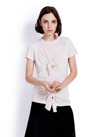 Marques'Almeida Knotted Beige T-shirt Front