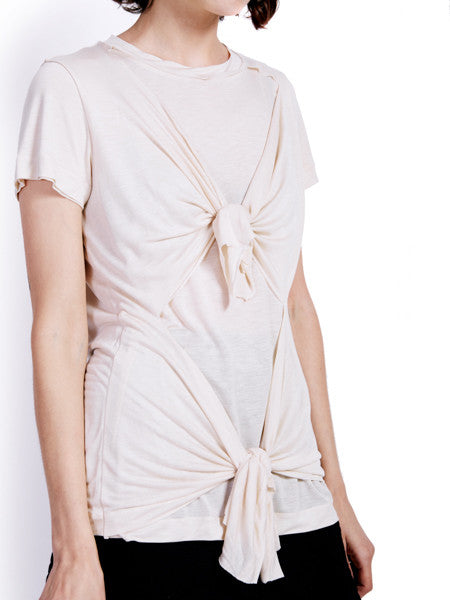Marques'Almeida Knotted Beige T-shirt Detail