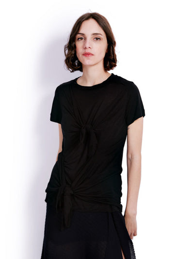 Marques'Almeida Knotted Black T-shirt Front