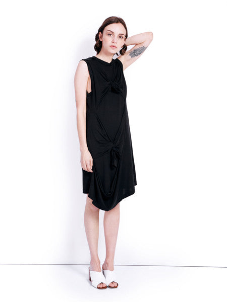 Marques'Almeida Knotted Tank Black Dress Front