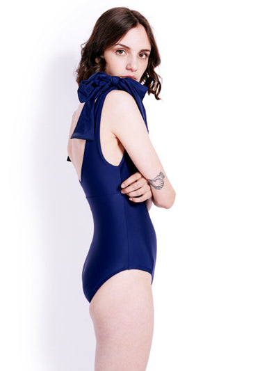 Soot Bow Navy Swimsuit Side