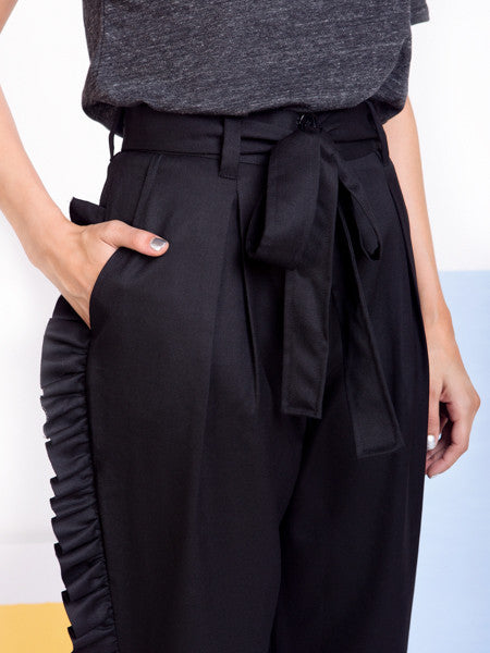 Alexandra Moura Black Frilled Trousers belt detail