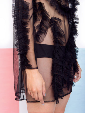 Alexandra Moura Black Transparent Dress details